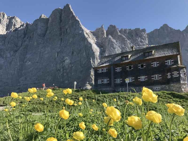 Im Juni auf die Falkenhütte wandern im Karwendel, zur Blüte der Trollblumen
