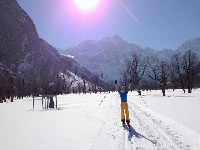 Juhu, gute Verhältnisse auf der Karwendelloipe am Ahornboden in Tirol