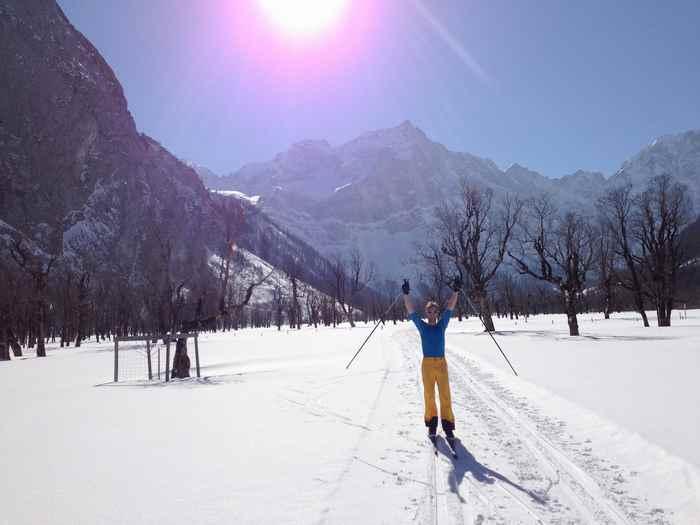 Loipe Hinterriss Zustand - Juhu, gute Verhältnisse auf der Karwendelloipe am Ahornboden in Tirol