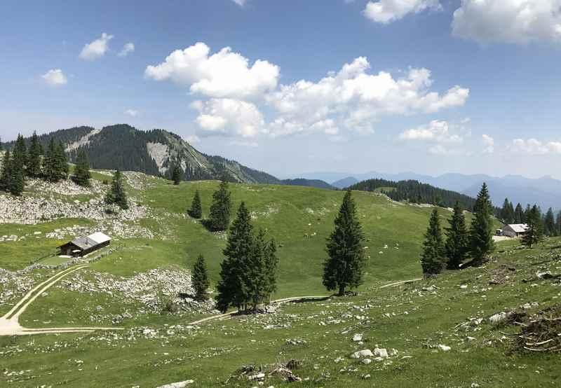 """Der Blick über die Moosenalm hinüber ins Vorkarwendel, schöne Alpenlandschaft mit """"Grasbergen"""""""