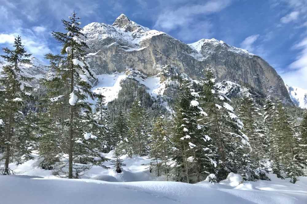 Der Blick von der Karwendelloipe auf die 2015 m hohe Roßlaufspitze