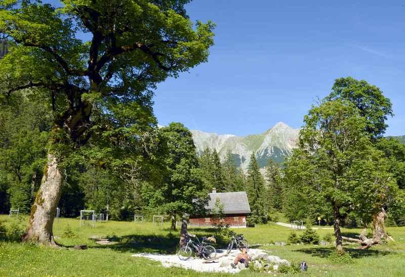 So schön ist es zum Mountainbiken im Gebiet Hinterriß Eng mit den Ahornbäumen und Bergen, das Karwendelgebirge hat von Juni bis Oktober MTB Saison