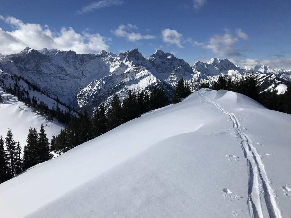 Der Ausblick beim Gipfel der Schönalmjoch Skitour