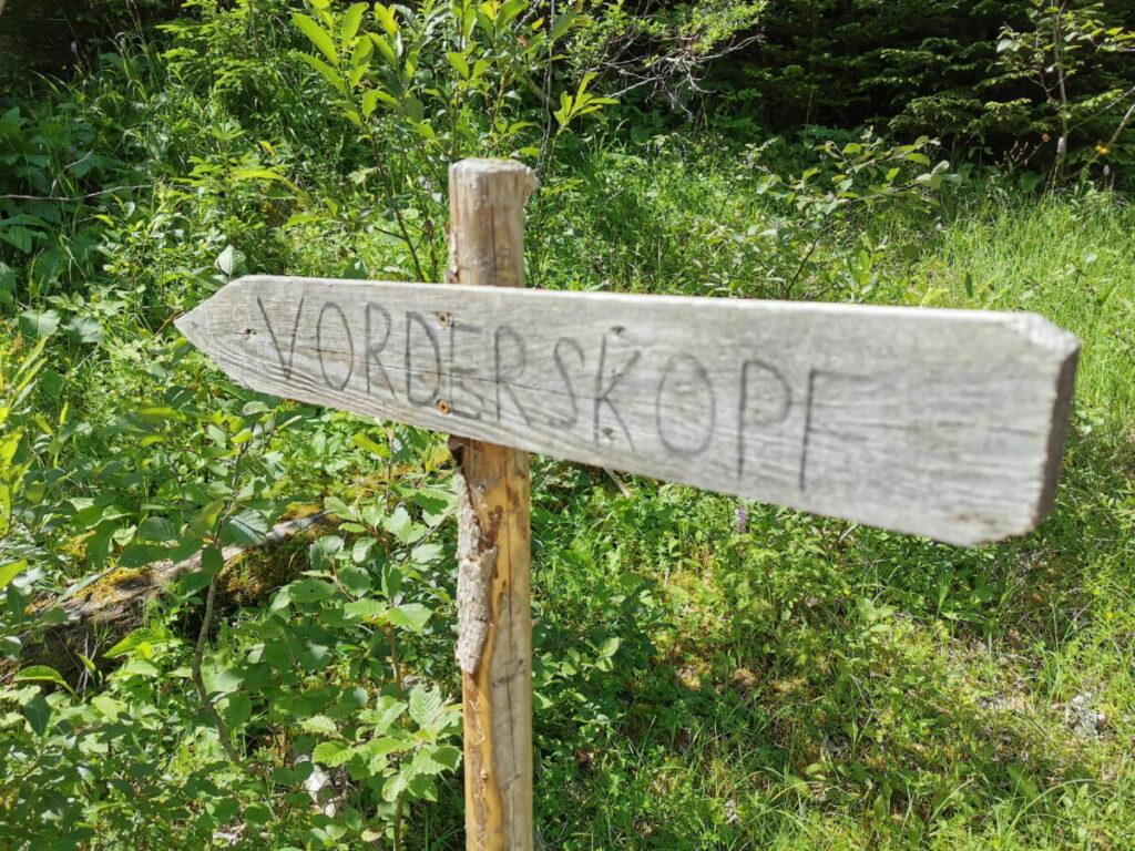 Beschilderung Vorderskopf - das einzige Schild der Vorderskopf Bergtour! Du brauchst eine Wanderkarte und Orientierungssinn
