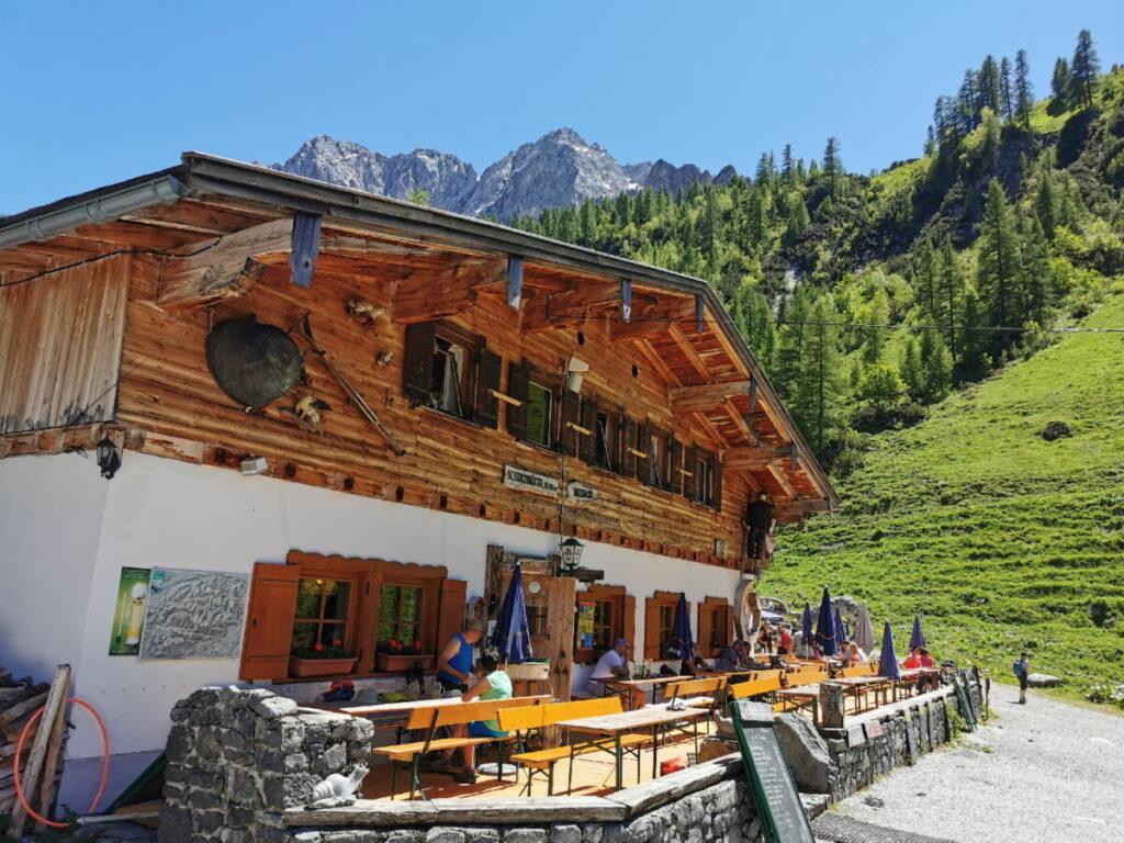 Wanderziel Binsalm - leichte Wanderung vom Ahornboden zur Alm im Karwendel