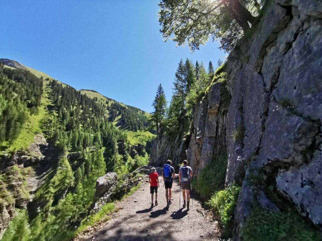 Binsalm Wanderung nach oben, mit den Felswänden rechts