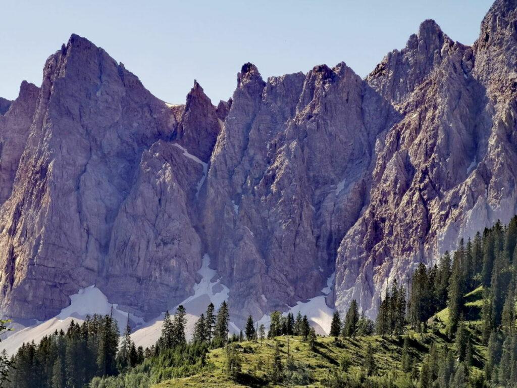 Einmaliger Blick vom Kleinern Ahornboden: Die bekannten Laliderer Wände